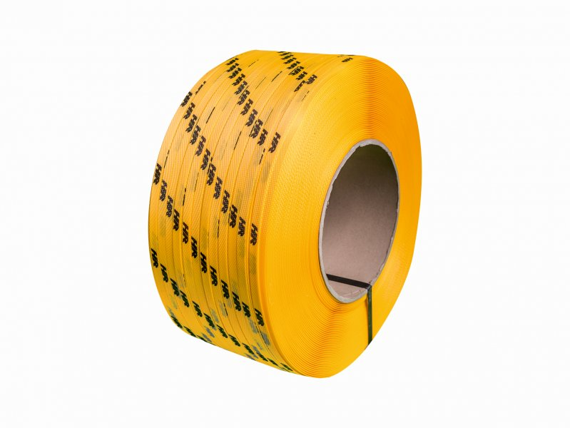 Polypropylene strap PP 12 x 0.60/200/2500 m/ yellow with your printed logo