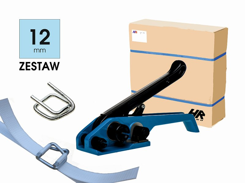 12 mm packaging kit (band, steel buckles, plastic strapping tensioner)