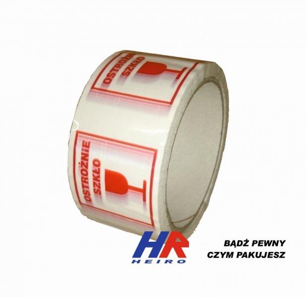 Adhesive tape 48 mm width/ acrylic paste, printed UWAGA SZKŁO (CAUTION GLASS)