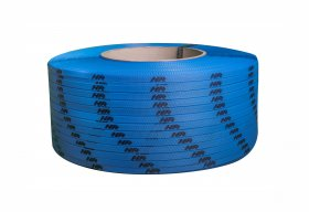 Polypropylene strap PP  9 x 0.55/200/3200 m/ blue with your printed logo