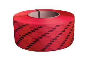 Polypropylene strap PP  9 x 0.55/200/3200 m/ red with your printed logo