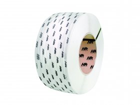 Polypropylene band PP 12 x 0.50/200/2900 m/ white with printed personal logo