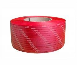 Polypropylene strap PP  9 x 0.55/200/3200 m/red – white printed logo