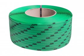 Polypropyleneband PP 09 x 0.55 mm/200/3200 m/grün mit Ihrem Aufdruck