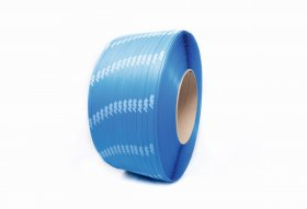 Polypropylene band PP 16 x 0.60/200/1800 m/blue - printed white