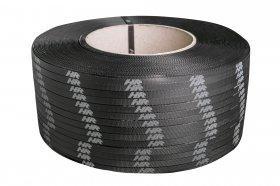 Polypropylene band PP 16 x 0.60/200/1800 m/black - printed white