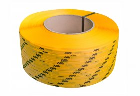 Polypropylene strap PP  9 x 0.55/200/3200 m/ yellow with your printed logo