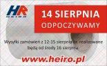 de 14 i 15 sierpnia Heiro nieczynne