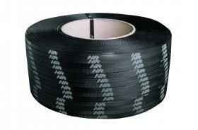 Polypropylene strap PP  9 x 0.55/200/3200 m/black – white printed logo