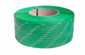 Polypropylene strap PP  9 x 0.55/200/3200 m/green – white printed logo