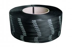 Polypropylene strap PP 12 x 0.60/200/2500 m/black – white printed logo
